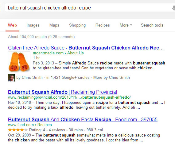 Gluten Free Alfredo Recipe Page in Google Search Results