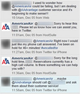 Customer comparing American Airlines customer service phone lines with the company we helped with online reputation.