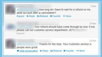 Refund request, Tweeted.
