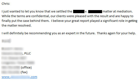 SEO Expert Witness - client testimonial note.