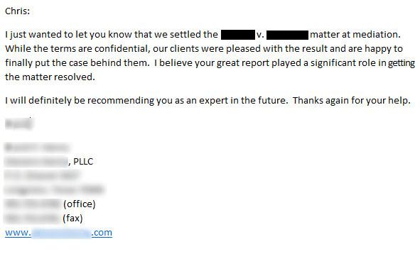 SEO Expert Witness - client testimonial note.