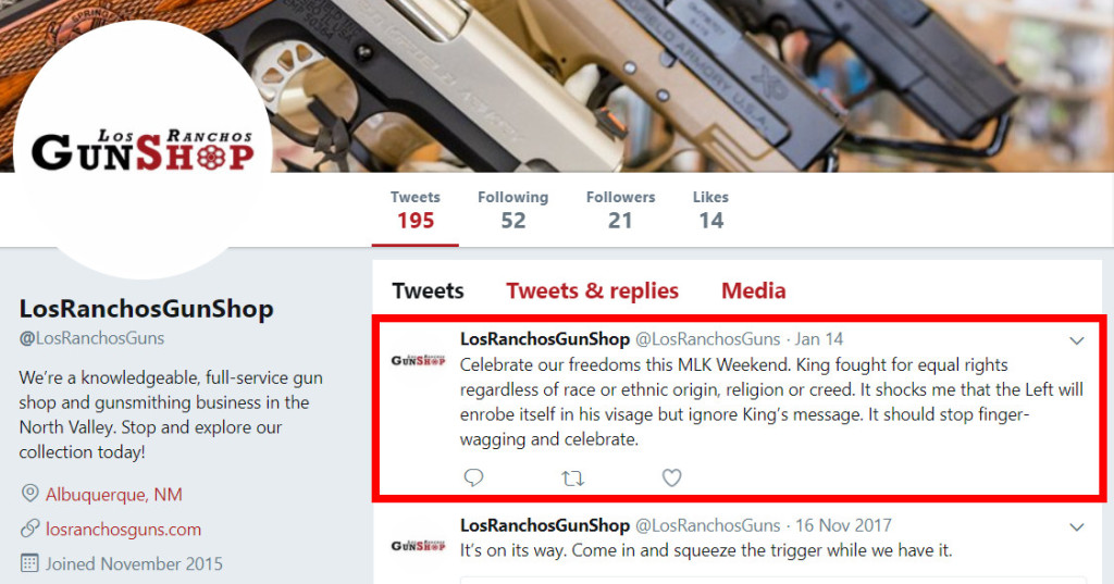 Los Ranchos Gun Shop Tweets back defiantly regarding the outrage and criticism around their Martin Luther King Jr. Day gun accessory discount ad.